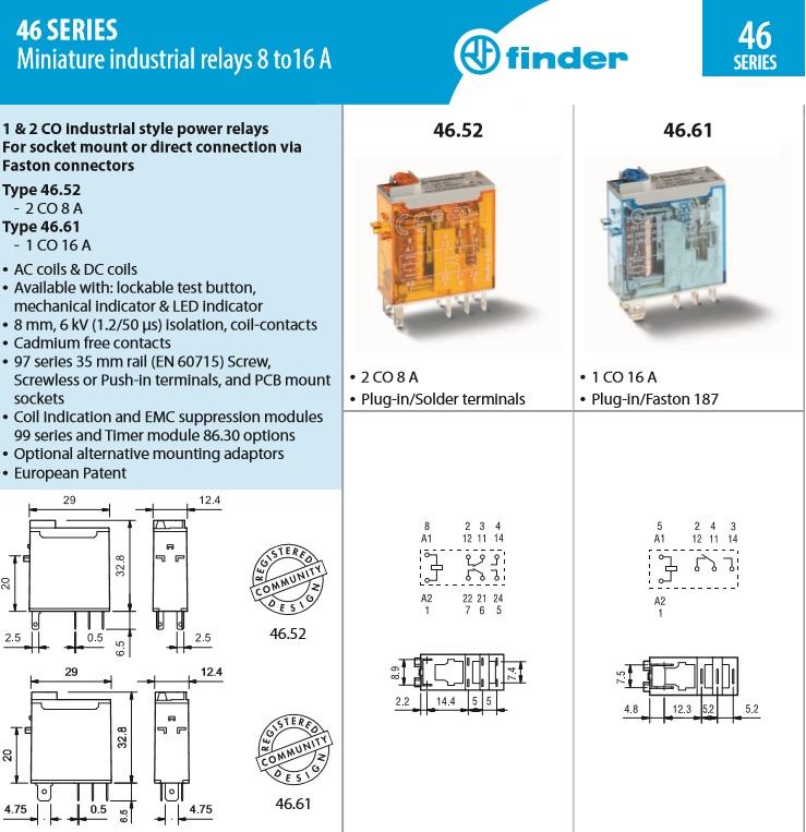 Finder 46.61.8.024.0040 46.61 SPDT 16A 24VAC Miniature Relay